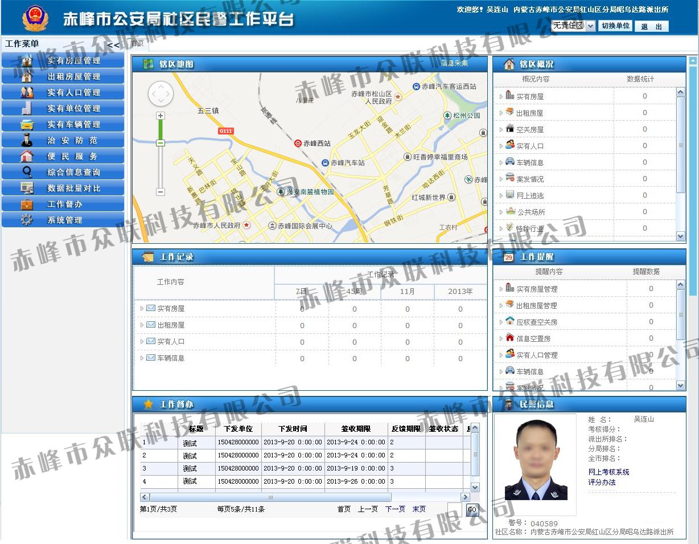 赤峰市公安局社区民警工作台